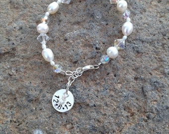Wedding Bracelet with Stamped Sterling Silver Charm
