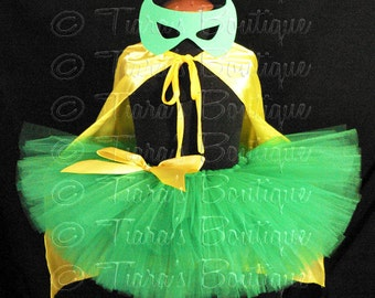 "Super Hero Tutu Costume Set, Green and Yellow Girls Halloween Costume, 3 Piece Set, Includes Sewn 8"" Tutu, Mask, and Cape"
