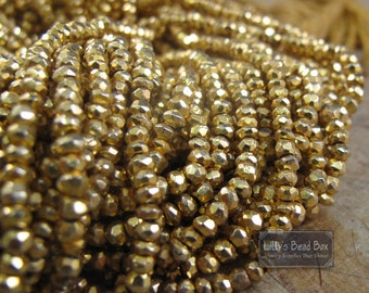 Golden Pyrite Beads, 3.5mm Rondelles, 13 Inch Strand of Gold Plated Pyrite Beads for Making Jewelry (R-Py2)