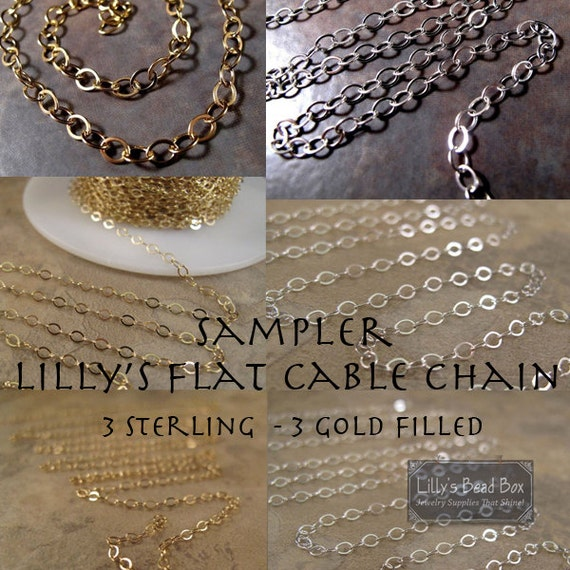 Flat Cable Chain Sampler, Six Different Chains, 3 Sterling Silver Chains & 3 Gold Filled Chains, Three Inches of Each!