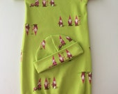 Garden Gnomes Day Gown, Green, Size 0 to 3 months, Short Sleeved