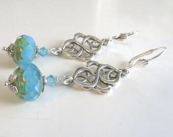 Turquoise Earrings, swarovski crystal earrings