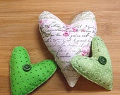 Green and White Script  Mothers Day or Valentines Day  Shabby Chic Heart Bowl Filler Ornaments