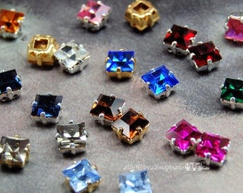 2 Pcs Vintage Swarovski Crystal or CZ 6mm Square Rhinestone 30 Colors With Prong Settings Crystal Sew On Craft Supplies Jewelry Making