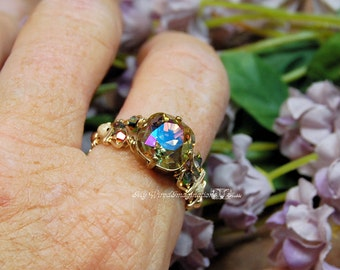 Swarovski Purple Haze Hand Crafted Wire Wrapped Ring Signature Design Fine Jewelry