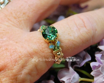 Erinite Green, Swarovski Crystal, Hand Crafted Wire Wrapped Ring, Handmade Signature Ring Design, Fine Jewelry, Unique Engagement or Gift