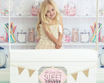 "Backdrop Candy Shop Vinyl Photography Backdrop 7ft x 6ft, Sweet Shop Backdrop, Vintage Candy Shop Background, ""Like a Kid in a Candy Shop"""