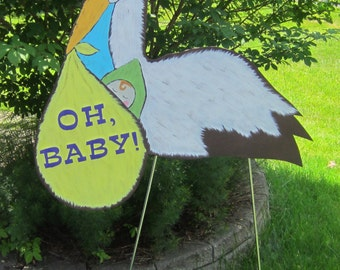STORK Yard Sign - Original Hand Painted Wood - No Gender Baby