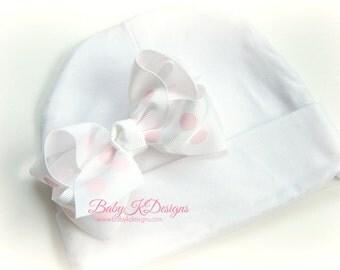 Newborn Baby Girl Bow Beanie / Newborn Hospital Hat / Girls Skull Cap / White Pink Cotton Bow Beenie Hat 2 Sizes OVER 15 COLORS
