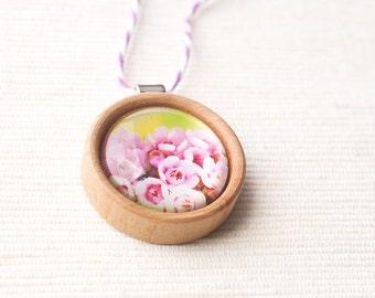 Australian wildflowers wood photo pendant metallic blossoms pink spring flowers altered art