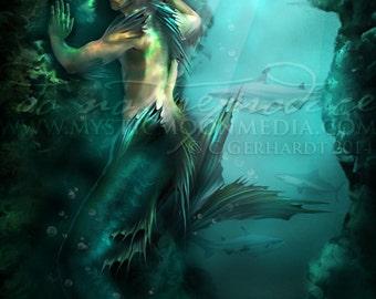 Art Retirement SALE/ Merman /Shark Art Print / Fantasy Art / Sexy Merman / Mythology / Man Mermaid / Pagan Art / Wiccan Art