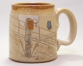 Butterfly and Fence Post Pottery Coffee Mug Limited Series 103 (microwave safe) 12 oz