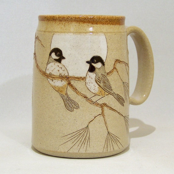 Black Capped Chickadees with Pine Mega Mug Limited Series 133 24oz