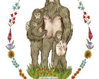 Sasquatch Family of Four - art print - Mothers Day Gift - Family art- Bigfoot Family - Forest Nursery - by Ryan Berkley 11x14