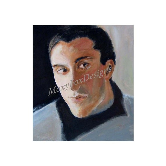 Tall Guy Black Hair Portrait, Man in Love Portrait,  Blue Sweater Gallery Quality Fine Art Print  FREE US Shipping and Insurance