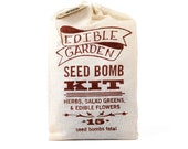 Edible Garden Seed Bomb Kit with Original Farm to Table Recipes for Fresh Herbs, Edible Flowers, Salad Greens