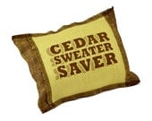 Cedar Sweater Saver Sachet in Rugged Green and Brown Screenprinted Belgian Linen
