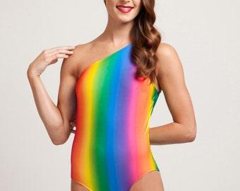Rainbow Brite One Piece Assymetrical Bathing Suit
