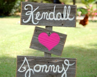 Wood Wedding Signs Romantic Outdoor Weddings Hand Painted Reclaimed Wood signs Custom signs Rustic Weddings. Vintage Weddings Road Signs