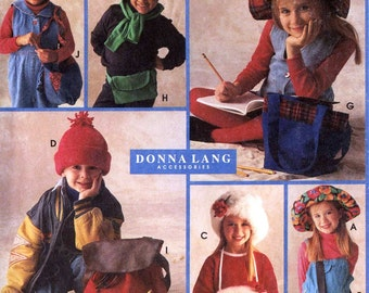 Kids Newsboy hat and bags pattern  6 styles hats and back to school bags sewing pattern 90s Simplicity 9079 Sz Sm to LG Uncut