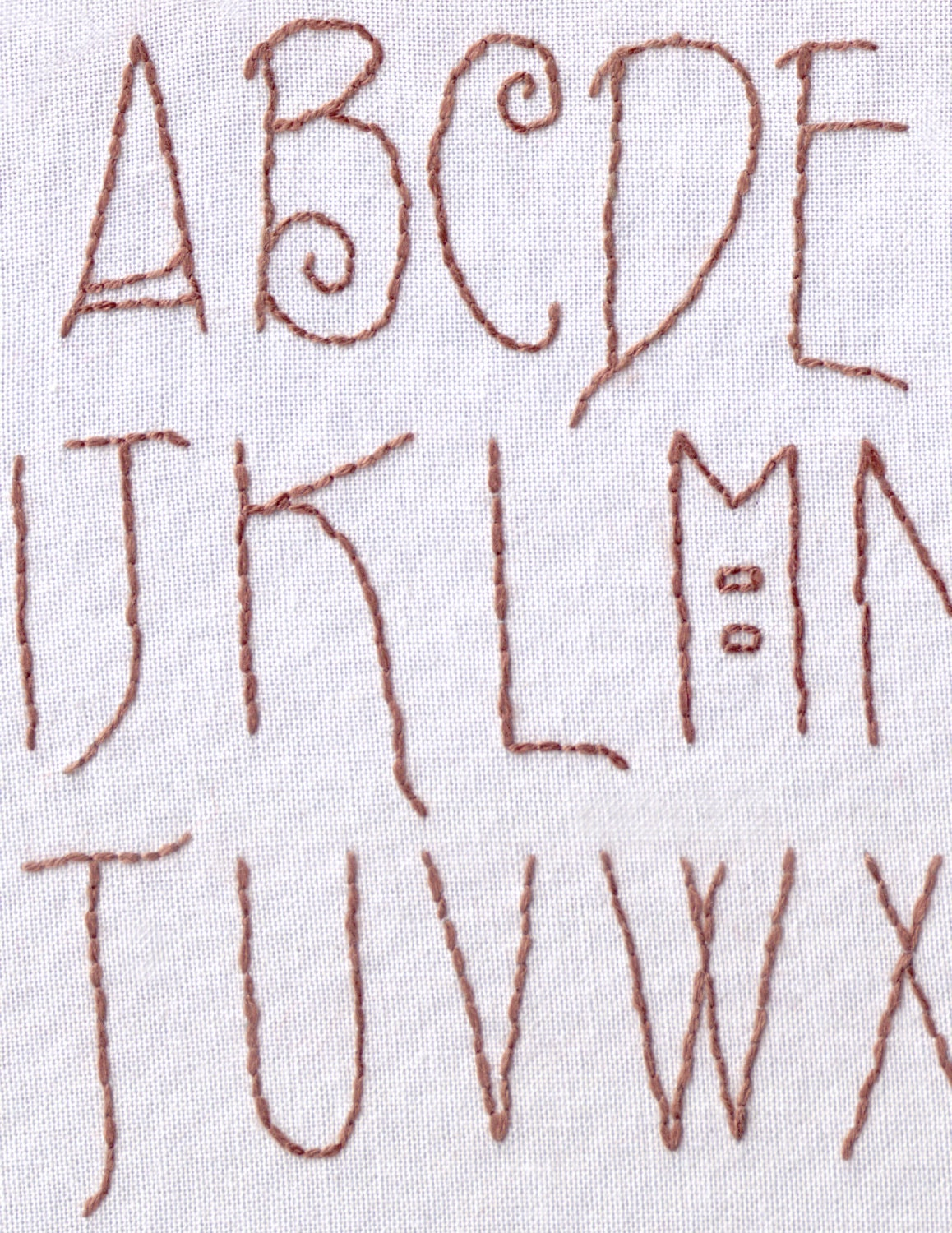 Alphabet hand embroidery pattern craftsman font letters