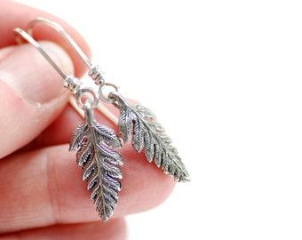 Fern Leaf Earrings, Spring Jewelry, Spring Wedding, Pewter Leaf, Woodland Wedding, Fronds, Nature Jewelry, Dangle Earrings, Sterling Silver