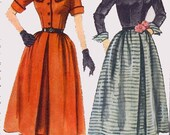 1950s One Piece Dress with Detachable Collar Simplicity 3662 ROCKABILLY 50s Vintage Sewing Pattern Size 14 Bust 32 UNCUT