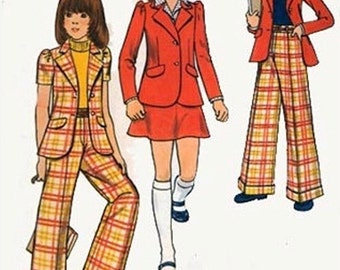1970s Girls Cropped Jacket, Cuffed Pants and Mini Skirt Butterick 3019 Vintage Sewing Pattern Size 8