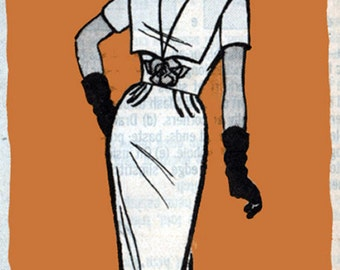 1960s Mail Order Pattern Marian Martin 9467 Womens Mad Men Wiggle Dress with Pilgram Collar Vintage Sewing Pattern Size 18.5 Bust 39