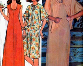 Vintage 1970s Dress and Cape Sewing pattern McCalls 5609 Womens SLINKY Vintage 70s Evening Dresss Pattern Size 10-14