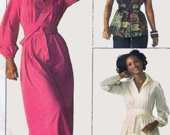 1970s Maxi or Mini Dress and Blouse Simplicity 7617 Vintage 70s American Hustle Sewing Pattern Size 18 UNCUT No Envleope
