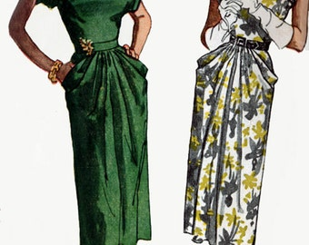 Vintage 1940s Cocktail Dress, Shoulder Tucks, Sleeve and Pocket Drapery Sewing Pattern Simplicity 2087 40s Swing Era Pattern Size 12 Bust 30