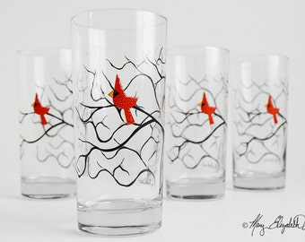 Christmas Cardinal Glassware - Set of 4 Christmas Glasses - Red Bird Glasses, Cardinal Glasses, Cardinal, Christmas Tabletop, Red Birds