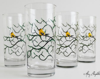 Finch Glasses - Set of 4 Everyday Glasses, Yellow Birds, Yellow Finches, Finch Glasses, Finch Decor, Finch Glasses