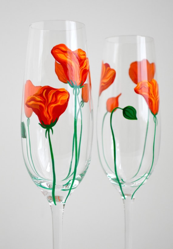 California Poppy Champagne Flutes - Hand Painted Poppy Toasting Flutes - Summer Wedding Flutes