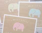 Custom Baby Shower Invitations - Textured Recycled Gingham Elephant