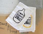 Beer Brewing Towels - Set of 2 - Flour Sack - Home Brewing - Craft Beer - Hops - Malt - Stocking Stuffer - gifts for men