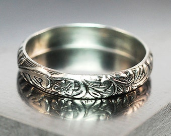 Floral Band Ring, Sterling Silver 5 mm Wide Band, Oxidized Silver Ring, Wedding Ring
