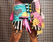 Tea Party Skirt, circus stripes, heart patches, patchwork. Medium Layer skirt. Punk Festival fashion. Crude Things