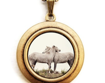 Embrace - Horse Love Hug Photo Locket - Wearable Photo Locket Necklace
