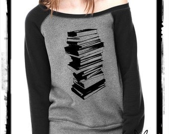 Stack of Books Bella Wide neck Sweatshirt Off the shoulder slouchy long sleeve shirt silkscreen screenprint