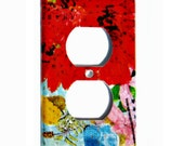 Decorative Outlet Cover Mod Red Flower, Electrical Outlet Cover Blue Red Wall Outlet Cover