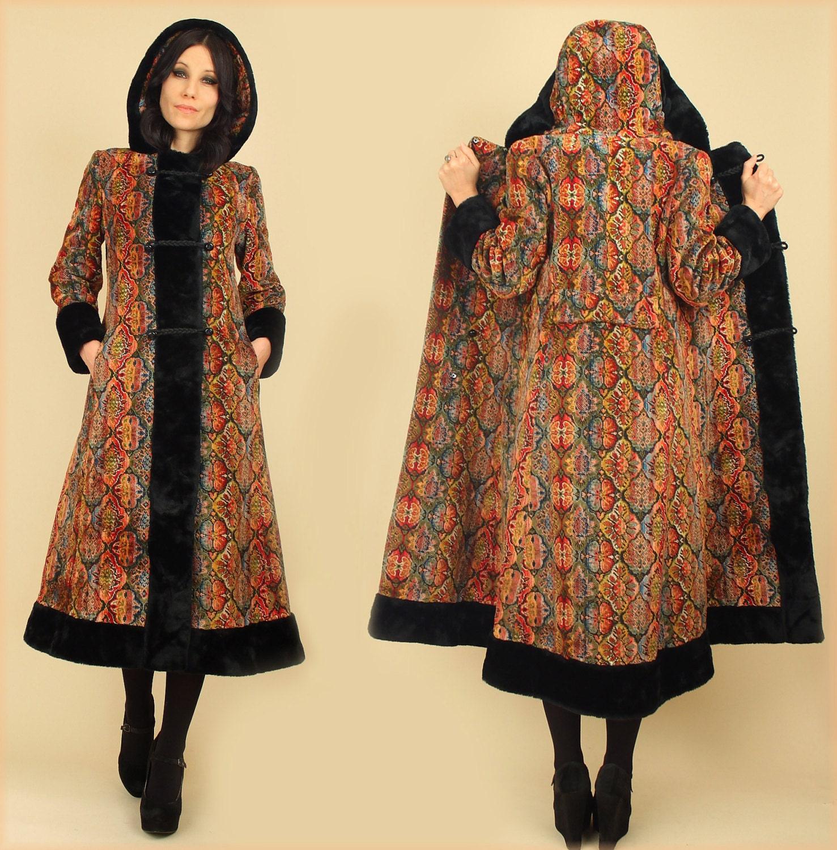 vintage 60 39 s rainbow noir tapisserie manteau capuche. Black Bedroom Furniture Sets. Home Design Ideas