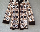 Vintage Granny Square Knit Cardigan Neutrals