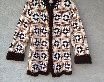 Vintage Granny Square Knit Cardigan Neutrals