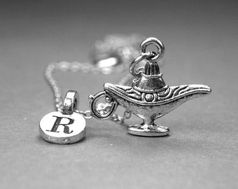 Genie Lamp Necklace, magic genie lamp charm, 3D silver plated pewter, initial necklace, initial hand stamped, personalized, monogram