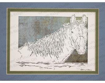 Horse in pasture Papercutting- Handcut Original