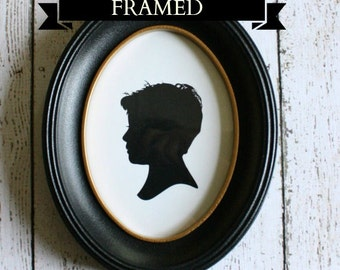 Custom Silhouette 5x7 Framed Print with 1 silhouette - Framed Personalized Silhouette Print / Custom Silhouette Portrait