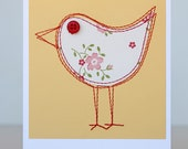 Sewn bird card, floral on butter yellow