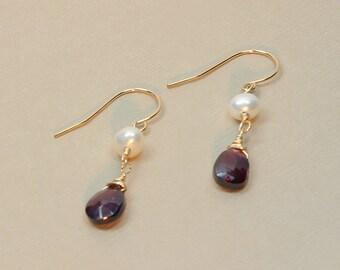 Garnet Earrings, Gold or Silver, Pearl, Rhodolite, Dark Red Garnet, Garnet Drop Dangle Earring, January Birthstone, Red Garnet Jewelry